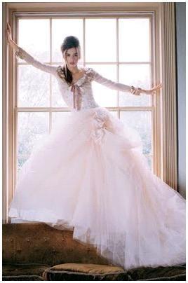 Light-powder-pink-tulle-full-skirt-wedding-dress-dusty-rose-bow-long-sleeves.original