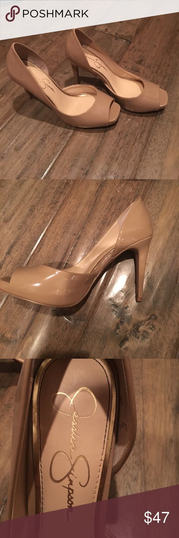 """Jessica Simpson Nude Peep-Toe Heels Worn one time to a party and have a little wear mark inside the right shoe (photo above). Heel height is a little bit over 4 inches (4.25""""). These look so cute with a party dress for going out! let me know if you have any questions. ALL MY ITEMS COME FROM A SMOKE FREE HOME! Jessica Simpson Shoes Heels"""