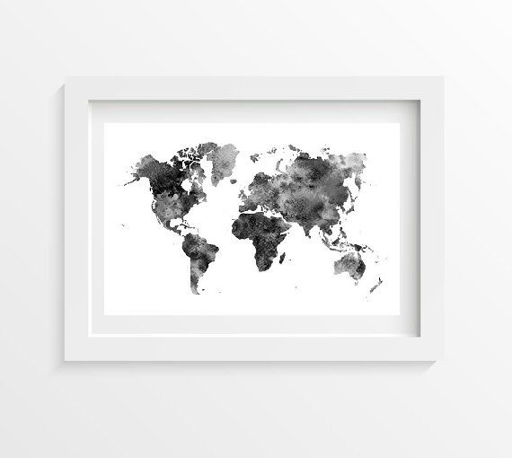 Black and White World Map Watercolor Art Print by Littlecatdraw
