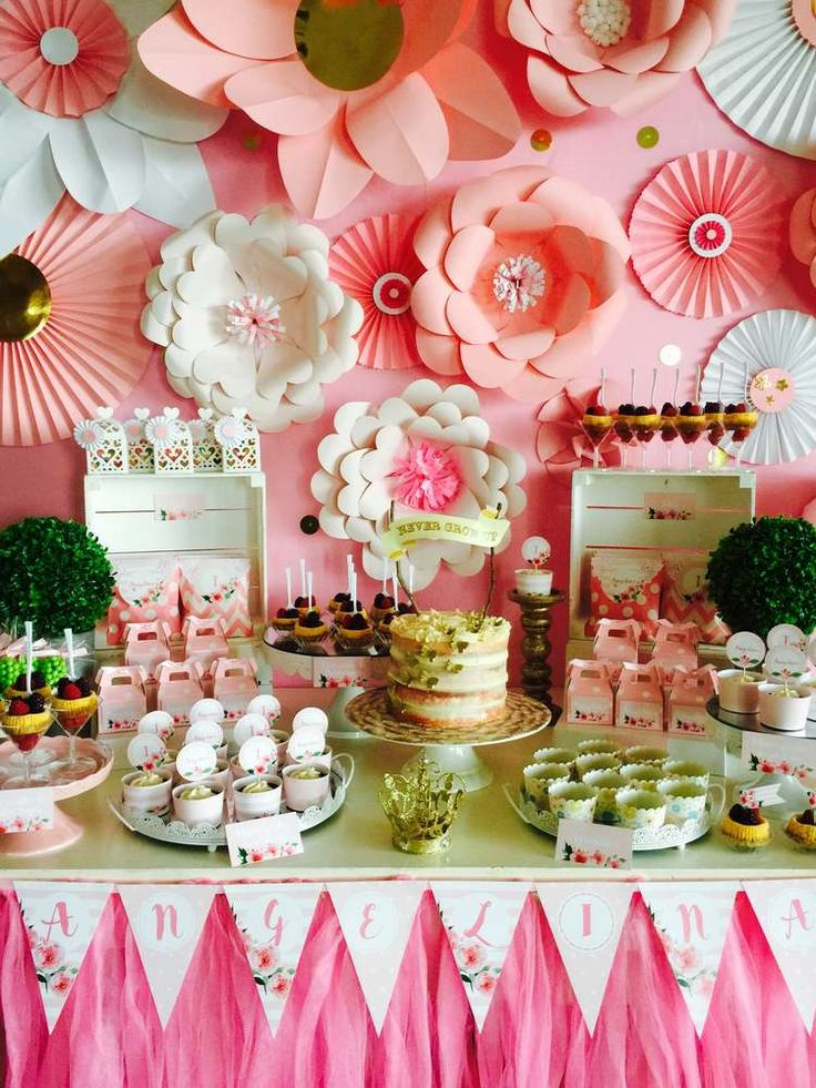 Stunning pink and gold backdrop at a birthday party! See more party ideas at CatchMyParty.com!