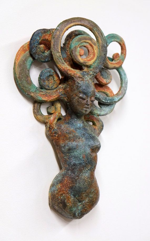 """Oracle"" by: Beverly Morrison Stoneware; Glazes; Patinas https://www.etsy.com/listing/196058478/figurative-ceramic-mini-muses-series"