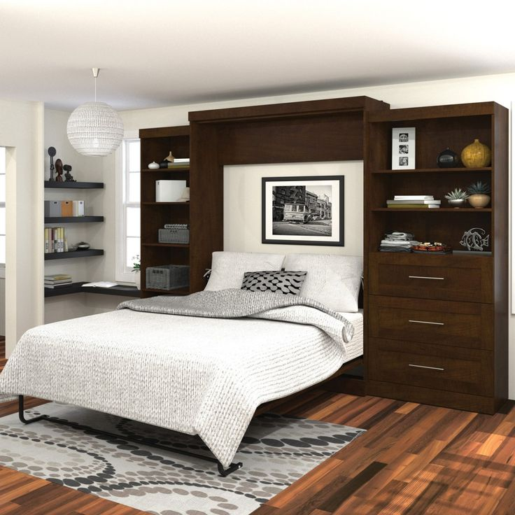 Bed Solutions For Small Spaces Part - 44: Bestar Pur Murphy Wall Bed With One 5-Shelf And One 3-Drawer/