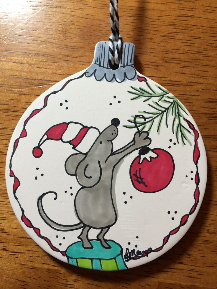 Copic markers and sharpie and a ceramic ornament