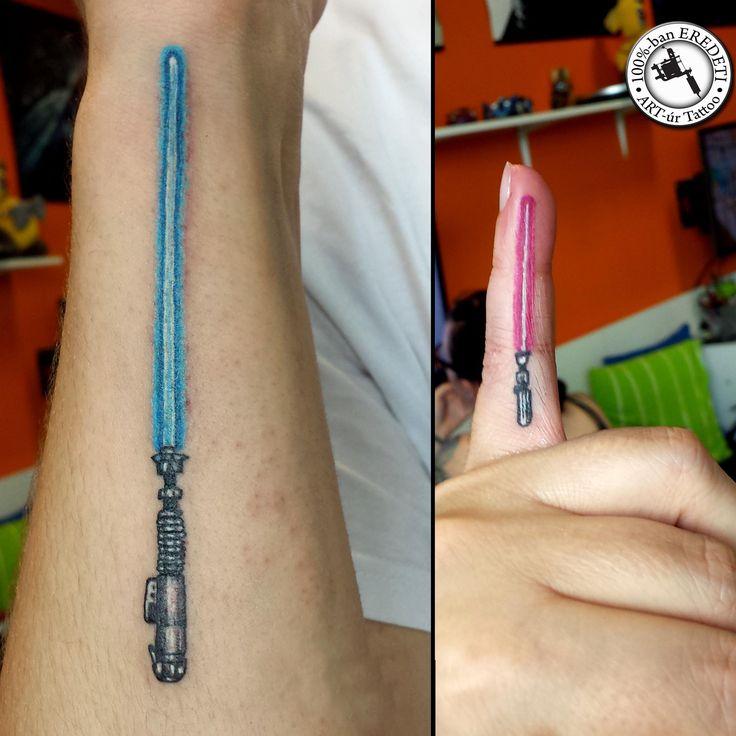 Lightsaber starwars tattoo tattooandzsi vaantattoo for Matching star wars tattoos