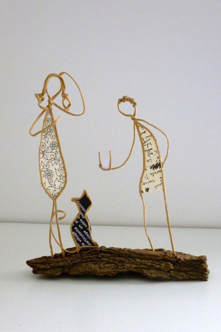 Petit garçon au chat - figurines en ficelle et papier : Accessoires de maison par ficelleetpapier