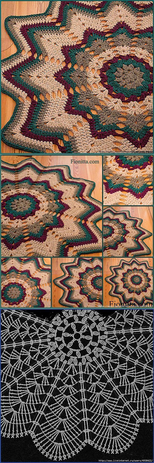 Звездный коврик.Фото + схема. | Вязанные коврики | Постила