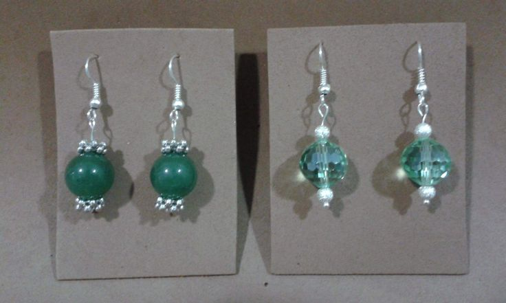 Pendientes ágata verde y cristal