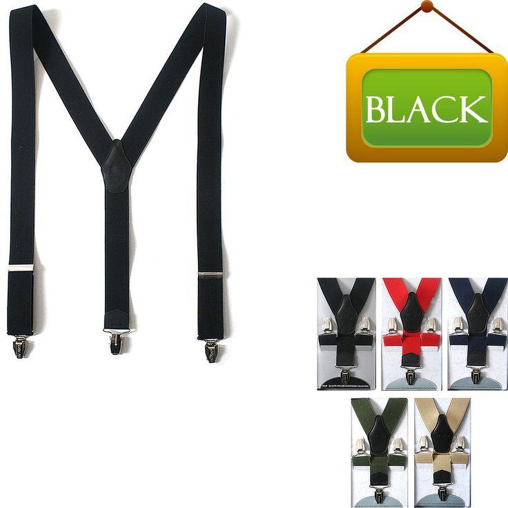 Faux Leather Elastic Suspenders Wide Suit Office Adjustable Clip-On Braces BLACK #springsummerfallwinter