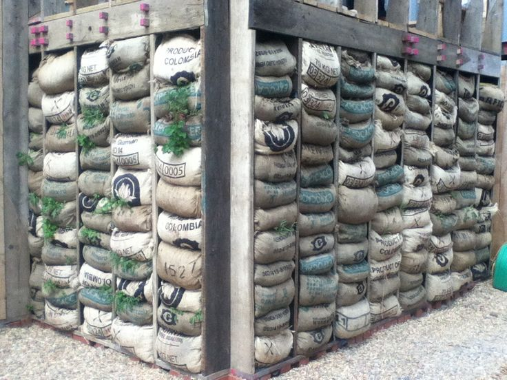 Vertical Garden From Upcycled Coffee Bags And Scaffolding Boards Skip Garden,  London N1