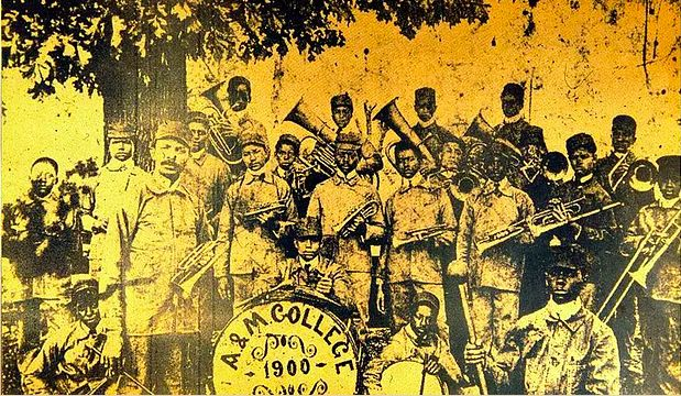 """WC Handy, """"Father of the Blues,"""" was director of music at Alabama A&M from 1900-1902  Here he is shown front left with the college band"""
