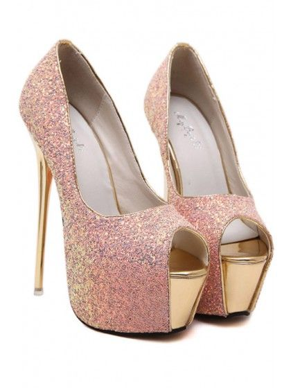 Pink Glitter Peep Toe Platform Stiletto High Heel Pumps | WithChic
