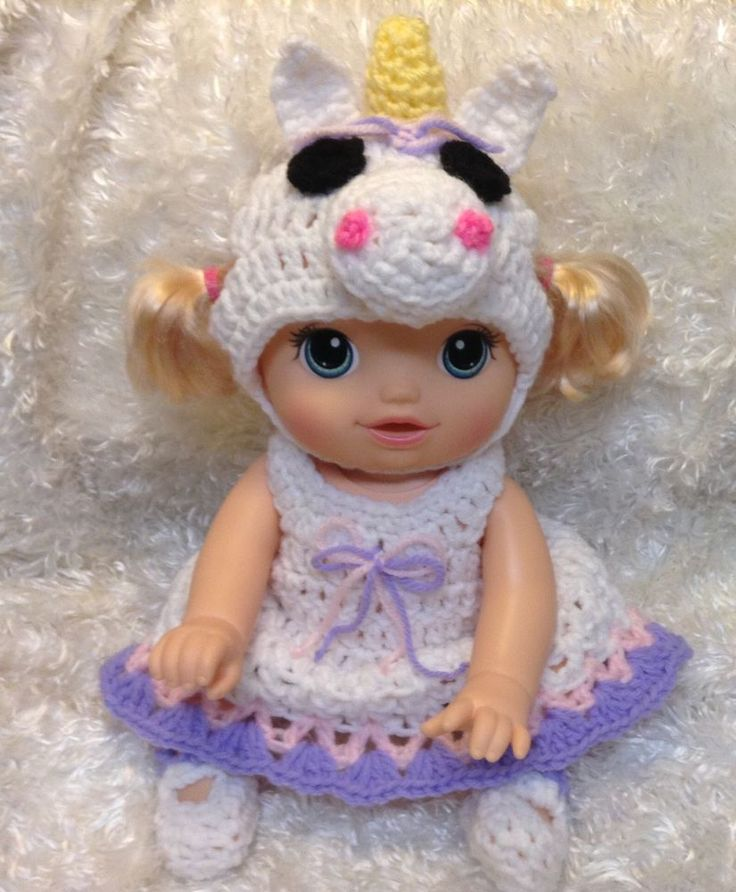 "Handmade clothes for 14 "" Dolls.Fits Baby alive baby go bye bye .Unicorn Dress"