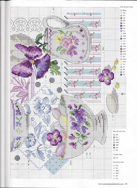 Creation Point de Croix 2016 01/02 - DMC BK 769 Crockery and Violets Veronique Enginger