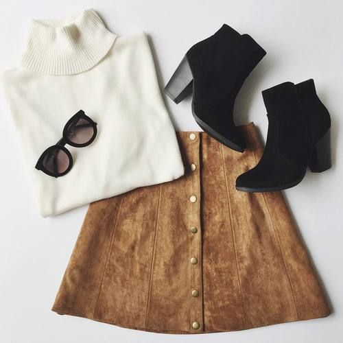 white turtleneck, brown cognac button flare a line skirt, short black sude booties, sunglasses, Chic staple pieces classic timeless audrey hepburn french style new york