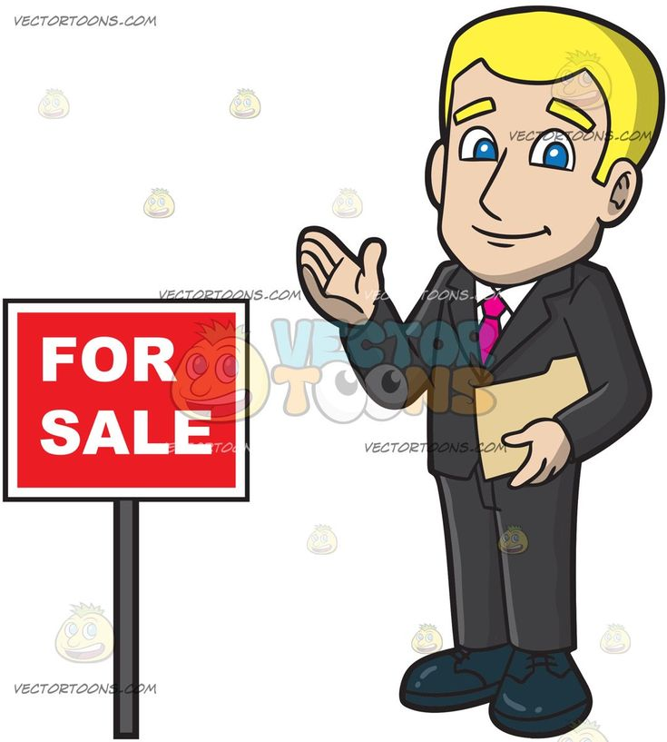 A Male Real Estate Agent Looking Optimistic To Sell A House:   A man with blonde hair wearing a black suit white dress shirt pink necktie midnight blue shoes smiles while holding a beige folder in his left hand as he stands beside a red for sale sign