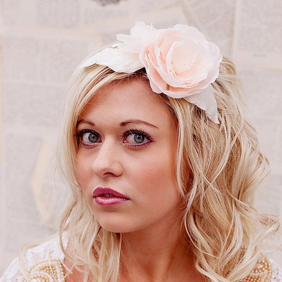 Wedding Hair Flowers Pink : Blush pink wedding flower hair piece
