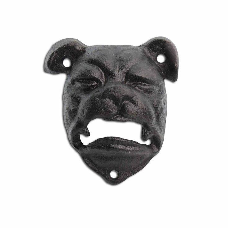 Bottle Opener Cast Iron Bull Dog Head Black Wall Mounted Bar Beer Opener #Gardens2you