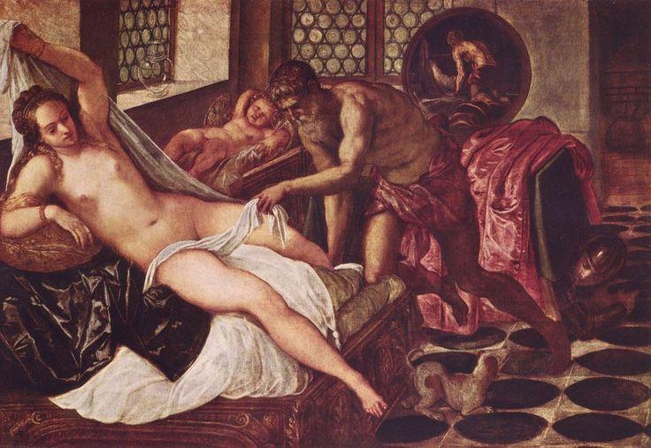 Jacopo Tintoretto.  Vulkan überrascht Venus und Mars. 2. Hälfte 16. Jh., Öl auf Leinwand, 140 × 197 cm. München, Alte Pinakothek. Venezianische Schule. Italien. Manierismus.  KO 00918