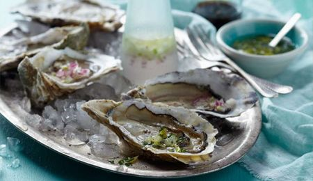 Oysters with  three vinaigrettes #recipe.