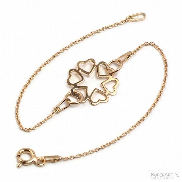 Bransoletka celebrytka - srebro pozłacane różowym złotem 1098