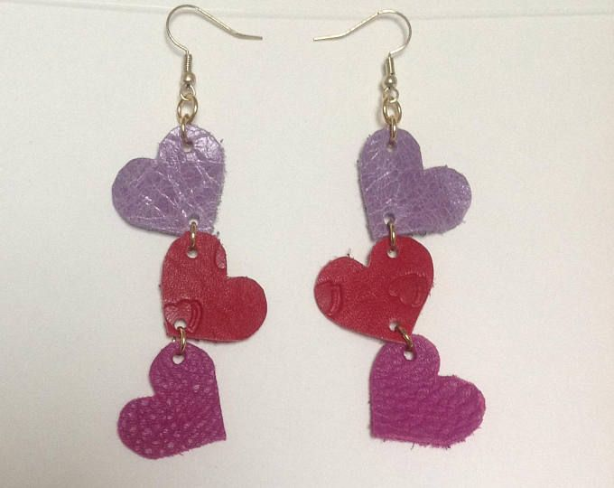 Colorful Heart HooK Earrings Jewelry Girl Friend Valentine/'s Day Birthday Gift