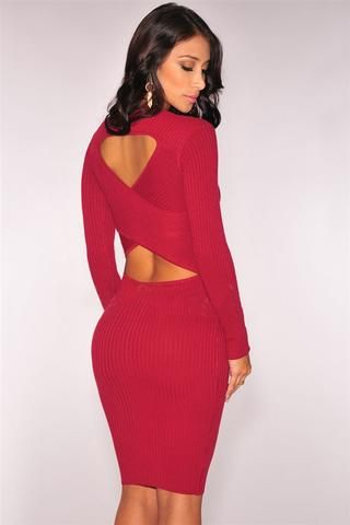 Robes Sweater Rouge Cut Out Retour Robe En Maille #RobePull pas cher