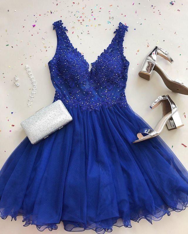 v-neck royal blue short homecoming dresses,prom dress with appliques, Prom Dresses, Formal Dress, Evening Dress