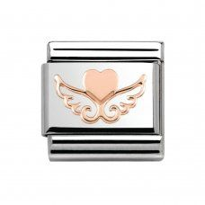 Nomination | Rose Gold Angel Heart Charm