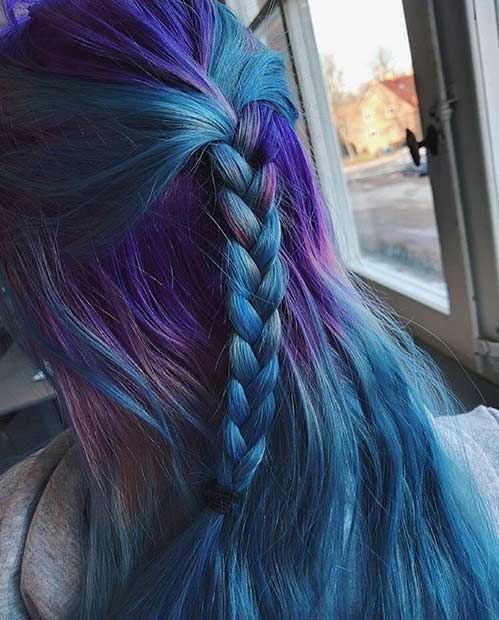 Dark Purple and Teal Blue Hair