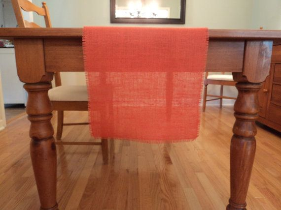 Coral Burlap Table Runner Coral Wedding Table Decoration Coral