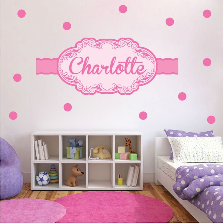 Girls Custom Name Wall Decal - PInk Wall Stickers for Nursery - Custom Wall Decal Murals - Primedecals