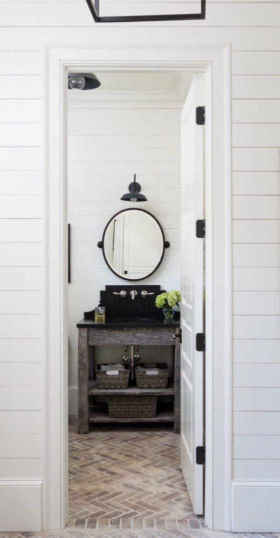 shiplap-6 brick herringbone floor round mirror black sink reclaimed wood vaniety ♥