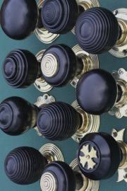 Ebonised & Solid Ebony With Brass Backs http://www.priorsrec.co.uk/door-furniture/door-knobs/wood-door-knobs/c-p-0-0-3-22-94
