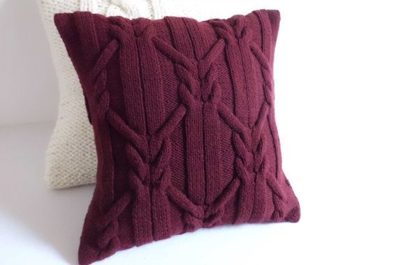 Marsala cable knit cushion cover, hand knit pillow case, decorative couch pilow, knitted throw pillow, 16x16 pillow case, wine home decor