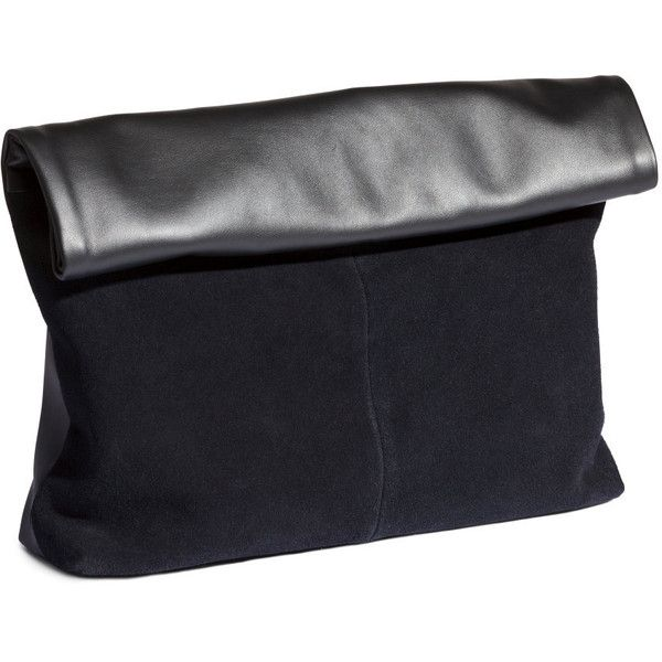 H&M Clutch bag (€34) ❤ liked on Polyvore featuring bags, handbags, clutches, h&m, malas, black, h&m purses, zipper purse, black clutches and black purse