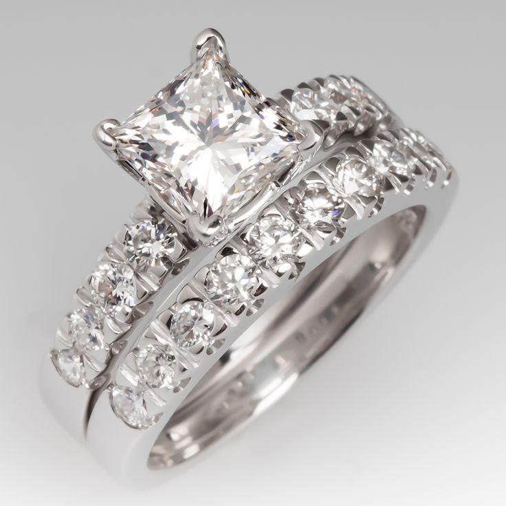 GIA 1.5 carat diamond engagement/wedding set   Estate ...