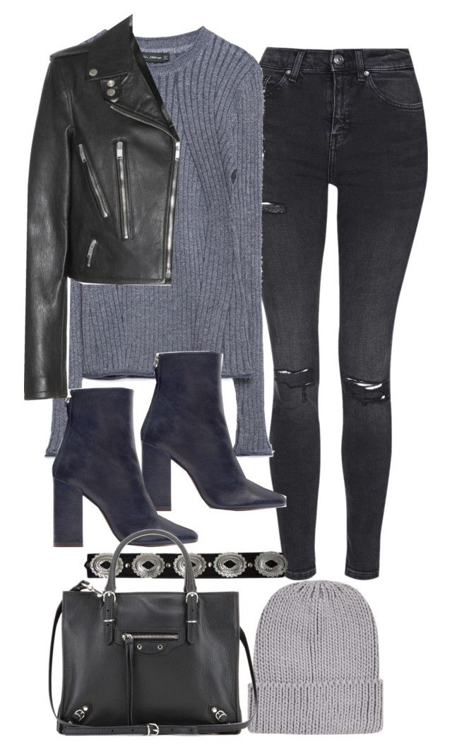 """""""Untitled #10851"""" by minimalmanhattan ❤ liked on Polyvore featuring Topshop, Zara, Balenciaga and Yves Saint Laurent"""
