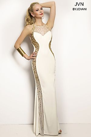 Sheer Neckline Fitted Gown JVN20452