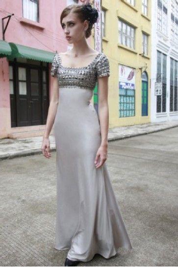 Stunning Couture Grey Sabrina Silk Prom Dress - 5805632