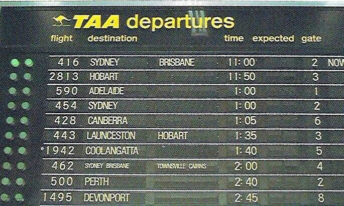 TAA Departures Board