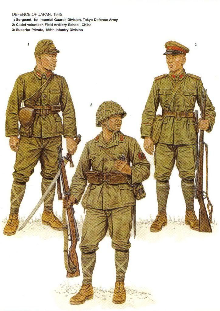 Defensa de Japon, 1945 1: Sargento, 1ra Division de Guardias Imperiales, Ejercito de Defensa de Tokio 2: Cadete voluntario, escuela de artilleria de campaña; Chiba 3: Soldado veterano, 155° Division de Infanteria
