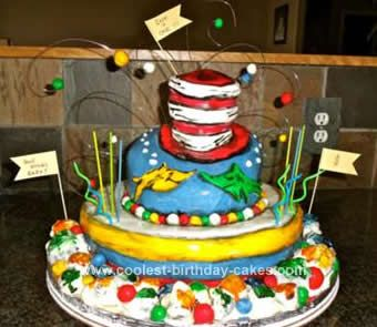 Homemade Dr. Seuss Birthday Cake Design: For my sons first birthday I wanted to have a Dr. Seuss theme so that he would get books instead of toys for gifts. Then I decided to do a Green Eggs