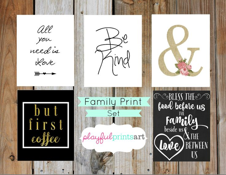 Family/Home Print Set, 8x10, Instant Download by playfulprintsart on Etsy