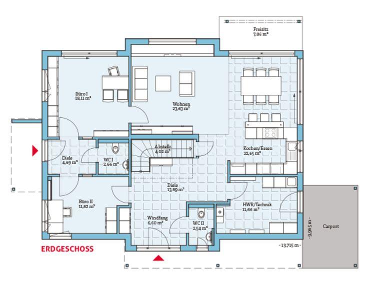 Grundriss EG Variant Von Hanse Haus GmbH U0026 Co. KG. Das Erdgeschoss Besticht  Durch Große, Offene Räume Unzahlreiche Panoramafenster, ...