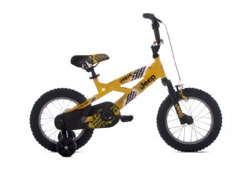 Jeep Boy's Bike (14-Inch Wheels) by Jeep. $96.30. Front Hand Brake. Full Wrap CPSC Chain Guard. Suspension Fork. Padded Cross Bar. Steel Frame. Amazon.com                The new 14-inch Jeep Boy's Bike is trail rated for rugged durability with a real suspension fork that soaks up bumps big or small. A CPSC full wrap chain charge and coaster brake plus front hand brake ensure safety is always a top priority. Finished in a highly visible glossy yellow paint, it comes with...