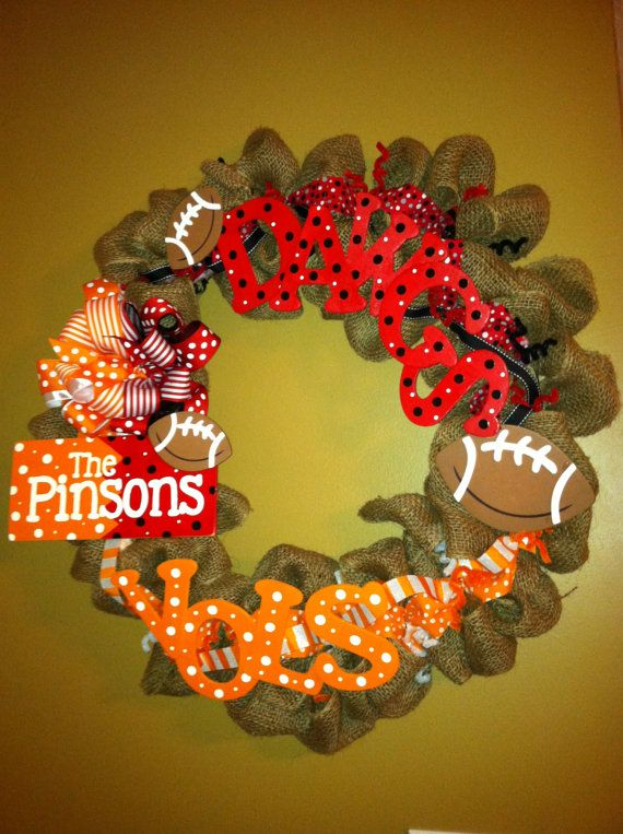 House Divided Burlap Sports Wreath by AFWatson on Etsy