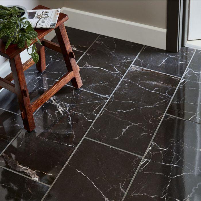 Elegance Black Marble Effect Gloss Porcelain Floor Wall Tile In 2020 Ceramic Floor Tile Elegant Tile Flooring Tile Floor