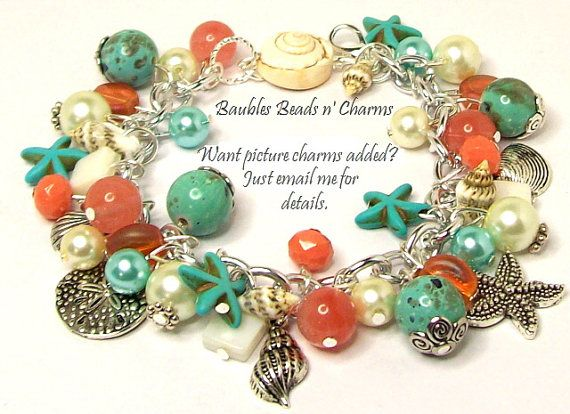 Ocean Beach Charm armband sieraden koraal door baublesbeadsncharms