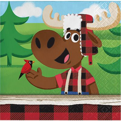 Canadian Lumberjack Beverage Napkins - 16pk Party Supplies Canada - Open A Party