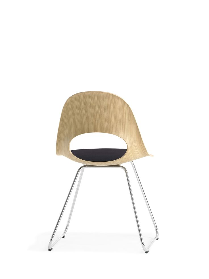 This beautiful SayO MiniLux Chair in raw wood with metal legs seen from behind with padding on the seat. May be acquired with different types of wood veneer. Find out more at www.sayo.dk.